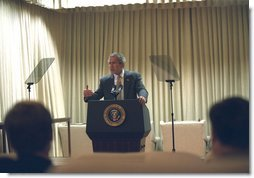 President George W. Bush prepares for his Monday night speech to the nation in the White House Family Theater this morning, Monday, October 7, 2002. White House photo by Paul Morse.
