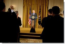 """President George W. Bush celebrates the contributions and accomplishments of Hispanic Americans in the East Room, October 9, 2002, at the White House Reception for Hispanic Heritage Month. """"This particular month we welcome the influence of the Hispanos in our country. We welcome the great values that our Hispanic Americans bring to America, the values of faith y familia,"""" President Bush said during the end of the month-long celebration. White House photo by Paul Morse."""