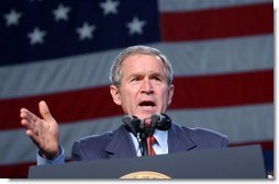 President George W. Bush speaks during the Pennsylvania Welcome in Downington, Pa., Tuesday, Oct. 22, 2002. White House photo by Eric Draper.