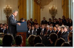 """President George W. Bush discusses changes to the judicial nomination process in the East Room Oct. 30. """"Today, I'm proposing a clean start for the process of nominating and confirming federal judges. We must have an even-handed, predictable procedure from the day a vacancy is announced to the day a new judge is sworn in. This procedure should apply now and in the future, no matter who lives in this house or who controls the Senate,"""" said the President. White House photo by Tina Hager."""
