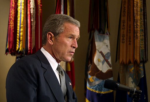 President George W. Bush remarks on the passage of a House resolution authorizing him to use military force in Iraq during a press conference in the Roosevelt Room Thursday, Oct. 10. White House photo by Paul Morse.