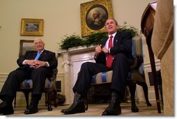 "President George W. Bush meets with the Prime Minister Ariel Sharon of Israel at the White House, Wednesday, Oct. 16. ""We talked about the framework for peace, the idea of working toward peace, the idea of two states living side-by-side in peace as a part of our vision,"" said President Bush during their joint Oval Office press conference. White House photo by Paul Morse."