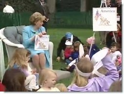 Mrs. Cheney hosting the 2003 Easter Egg Roll at the White House. White House screen capture.