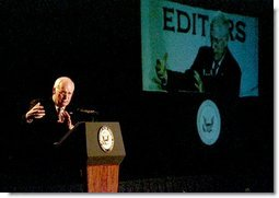 """Vice President Dick Cheney discusses the war in Iraq during his address to the American Society of Newspaper Editors in New Orleans, Wednesday, April 9, 2003. """"By their skill and courage, the American armed forces joined by the finest of allies are making this nation and the world more secure,"""" Vice President Cheney said. """"They are bringing freedom where there is tyranny, relief where there is suffering. As a former Secretary of Defense, I've never been more proud of those who wear the uniform of the United States military.""""  White House photo by David Bohrer"""