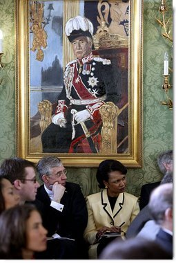 British Foreign Minister Jack Straw and National Security Advisor Dr. Condoleezza Rice listen to President George W. Bush and British Prime Minister Tony Blair during their joint press conference at Hillsborough Castle, near Belfast, Northern Ireland, Tuesday, April 8, 2003. White House photo by Paul Morse