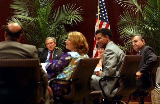 President George W. Bush meets with Iraqi-Americans for a roundtable discussion about the future of Iraq in Dearborn, Mich., Monday, April 28, 2003. White House photo by Tina Hager