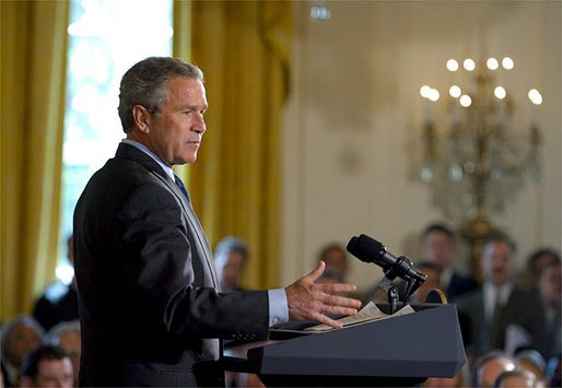 """President George W. Bush discusses his Global HIV/AIDS Initiative in the East Room Tuesday, April 29, 2003. """"Today, on the continent of Africa alone nearly 30 million people are living with HIV/AIDS, including 3 million people under the age of 15 years old. In Botswana, nearly 40 percent of the adult population -- 40 percent -- has HIV, and projected life expectancy has fallen more than 30 years due to AIDS,"""" said the President. White House photo by Paul Morse"""