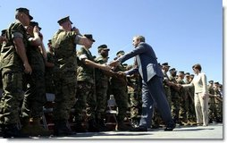 President George W. Bush and Mrs. Bush greet Marines at Camp Lejeune in Jacksonville, N.C., Thursday, April 3, 2003.  White House photo by Paul Morse