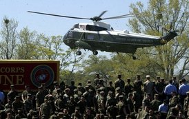 Traveling aboard Marine One, President George W. Bush and Laura Bush arrive at Camp Lejeune in Jacksonville, N.C., Thursday, April 3, 2003.  White House photo by Paul Morse