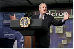 President George W. Bush gestures as he addresses the employees at Micron Technology Virginia in Manassas, Va., Tuesday, Feb. 6, 2007, on fiscal responsibility and the fiscal year 2008 budget.  White House photo by Paul Morse
