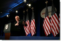 Vice President Dick Cheney answers a question from the audience after delivering remarks on trade and the economy to the National Association of Manufacturers in Washington, D.C., Wednesday, February 14, 2007.