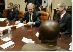 President George W. Bush meets with members of the nation's health insurance industry Tuesday, Feb. 20, 2007 in the Roosevelt Room at the White House, to discuss the effect of the President's health care proposals on the individual health insurance market. White House photo by Eric Draper