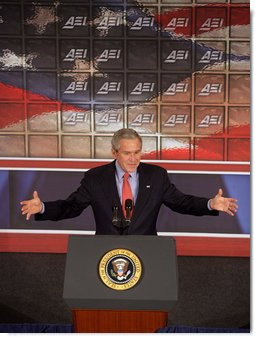 """President George W. Bush addresses the American Enterprise Institute in Washington, D.C., Thursday, Feb. 15, 2007. """"Our goal in Afghanistan is to help the people of that country to defeat the terrorists and establish a stable, moderate, and democratic state that respects the rights of its citizens, governs its territory effectively, and is a reliable ally in this war against extremists and terrorists,"""" said President Bush. White House photo by David Bohrer"""