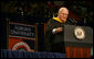 Vice President Dick Cheney smiles after making a joke during his commencement speech at Auburn University in Auburn, Alabama, to a crowd of over 9,000 graduating students and family members Friday, May 13, 2005. White House photo by David Bohrer