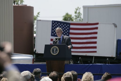 President George W. Bush delivers remarks during a visit to West Point, Va., Monday, May 16, 2005.White House photo by Eric Draper
