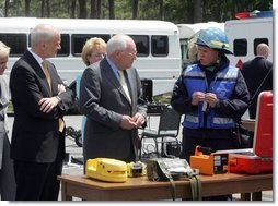 During a visit to the Federal Law Enforcement Training Center in Glyco, Georgia, Vice President Dick Cheney and Department of Homeland Security Secretary Michael Chertoff are shown some of the kinds of equipment used by emergency workers in the event of a chemical or biological attack May 2, 2005.  White House photo by David Bohrer