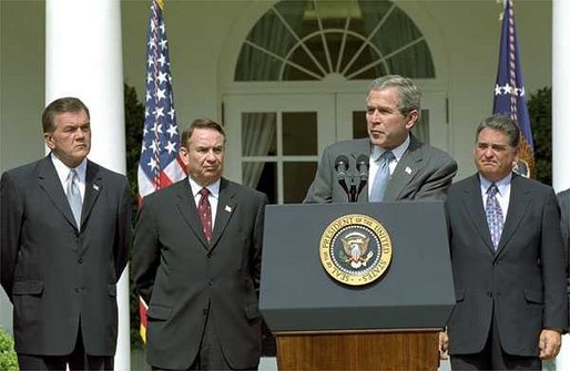 """""""Biological weapons are potentially the most dangerous weapons in the world,"""" said President George W. Bush at the signing of H.R. 3448, the Public Health Security and Bioterrorism Response Act of 2002 in The Rose Garden Wednesday, June 12. """"Last fall's anthrax attacks were an incredible tragedy to a lot of people in America, and it sent a warning that we needed and have heeded. We must be better prepared to prevent, identify and respond. And this bill I'm signing today will help a lot in this essential effort."""" White House photo by Susan Sterner."""