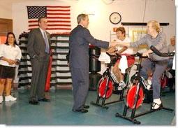 President George W. Bush visits senior citizens