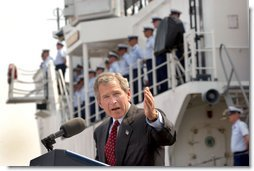President George W. Bush addresses Coast Guard members and Port Authority police officers at Port Elizabeth in New Jersey after touring the facilities Monday, June 24. White House photo by Eric Draper.