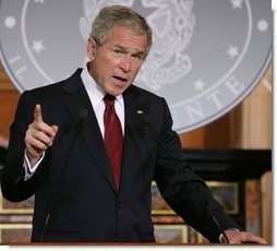 President George W. Bush gestures as he answers a question during a joint press availability with Italian Prime Minister Silvio Berlusconi Thursday, June 12, 2008, at the Villa Madama in Rome. White House photo by Chris Greenberg