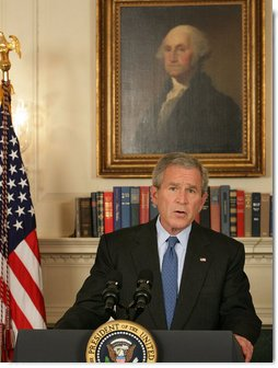 "President George W. Bush issues a statement on the legislative agenda Thursday, June 26, 2008, in the Diplomatic Reception Room of the White House. Before it departs on recess, the President urged Congress to attend to outstanding business saying, ""I asked the Democratic leaders to make the last two days before their recess productive. I, of course, wish the members to have a great 4th of July week, and I'm looking forward to working with them to address critical issues facing our nation when they return.""  White House photo by Chris Greenberg"