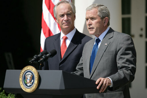 """As U.S. Interior Secretary Dirk Kempthorne looks on, President George W. Bush delivers a statement on energy Wednesday, June 18, 2008, in the Rose Garden of the White House. Calling on Congress to expand domestic oil production, the President said, """"For many Americans, there is no more pressing concern than the price of gasoline. Truckers and farmers and small business owners have been hit especially hard. Every American who drives to work, purchases food, or ships a product has felt the effect. And families across our country are looking to Washington for a response."""" White House photo by Luke Sharrett"""