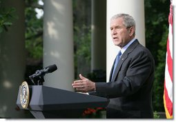 """President George W. Bush delivers a statement on North Korea Thursday, June 26, 2008, in the Rose Garden of the White House. Said the President, """"The policy of the United States is a Korean Peninsula free of all nuclear weapons. This morning, we moved a step closer to that goal, when North Korean officials submitted a declaration of their nuclear programs to the Chinese government as part of the six-party talks.""""  White House photo by Chris Greenberg"""