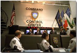 President George W. Bush visits the New York City Command and Control Center Feb. 6, 2002.
