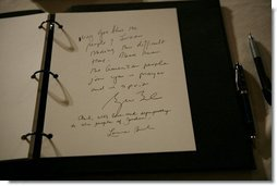 The sympathies of President George W. Bush and Mrs. Laura Bush, are seen written in a book of condolence for the people of Jordan, Thursday, Nov. 10, 2005 at the Embassy of Jordan in Washington.  White House photo by Eric Draper