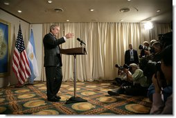 President George W. Bush meets with the traveling press pool Friday, Nov. 4, 2005, at the Sheraton Mar del Plata in Mar del Plata, Argentina. The President thanked the media for coming and said he was pleased to be in Argentina. White House photo by Eric Draper