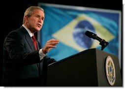 President George W. Bush delivers remarks in Brasilia, Brazil, Sunday, Nov. 6, 2005. White House photo by Eric Draper
