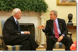 President George W. Bush sits with Donald Powell, Chairman of the Federal Deposit Insurance Corp., in the Oval Office Tuesday, Nov. 1, 2005. The President selected Mr. Powell to be the coordinator of federal support for the Gulf Coast's recovery and rebuilding.  White House photo by Shealah Craighead