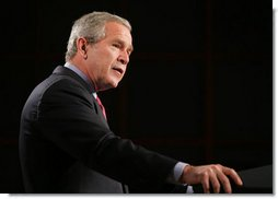 """President George W. Bush delivers his remarks regarding his National Strategy for Pandemic Influenza Preparedness and Response at the National Institute of Health in Bethesda, Md., Tuesday, Nov. 1, 2005. """"At this point, we do not have evidence that a pandemic is imminent. Most of the people in Southeast Asia who got sick were handling infected birds,"""" said President Bush. """"And while the avian flu virus has spread from Asia to Europe, there are no reports of infected birds, animals, or people in the United States. Even if the virus does eventually appear on our shores in birds, that does not mean people in our country will be infected. Avian flu is still primarily an animal disease. And as of now, unless people come into direct, sustained contact with infected birds, it is unlikely they will come down with avian flu.""""  White House photo by Paul Morse"""