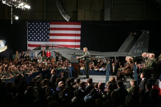 President George W. Bush speaks on the War on Terror in Hangar One at Elmendorf Air Force Base Monday, Nov. 14, 2005, in Anchorage, Alaska, the first stop on the President's trip to Asia. White House photo by Paul Morse