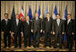 President George W. Bush stands with CAFTA-DR leaders while attending the Summit of the Americas in Mar del Plata, Argentina, Friday, Nov. 4, 2005. From left, they are: President Leonel Fernandez Reyna of Dominican Republic; President Oscar Berger Perdomo of Guatemala; President Enrique Bolanos Geyer of Nicaragua; President Abel de Jesus Pacheco de la Espriella of Costa Rica; President Elias Antonio Saca Gonzalez of El Salvador and Vice President Alberto Diaz Lobo of Honduras. White House photo by Eric Draper