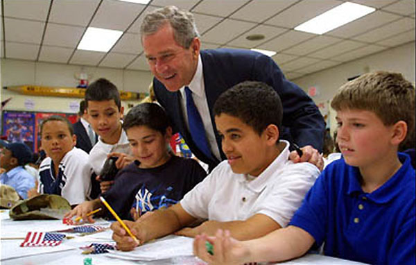 Earlier this year, President Bush met with students at B.W. Tinker School in Waterbury, Connecticut. On Tuesday, December 18, Congress passed the historic bipartisan education bill. The President said he looks forward to signing the bill early next year. White House photo by Paul Morse.