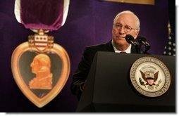 Vice President Dick Cheney speaks to the attendees at the 73rd National Convention of the Military Order of the Purple Heart in Springfield, Missouri, Thursday, August 18, 2005. The organization was formed in 1932 for the protection and mutual interest of all who have, as a result of being wounded in combat, received the Purple Heart.  White House photo by David Bohrer