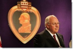 Vice President Dick Cheney speaks to the attendees at the 73rd National Convention of the Military Order of the Purple Heart in Springfield, Missourri, Thursday, August 18, 2005. The organization was formed in 1932 for the protection and mutual interest of all who have, as a result of being wounded in combat, recieved the Purple Heart.  White House photo by David Bohrer