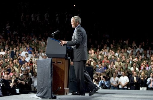 President George W. Bush addresses a crowd of military families, Wednesday, Aug. 24, 2005 in Nampa, Idaho, honoring the service of National Guard and Reserve forces serving in Afghanistan and Iraq. White House photo by Paul Morse