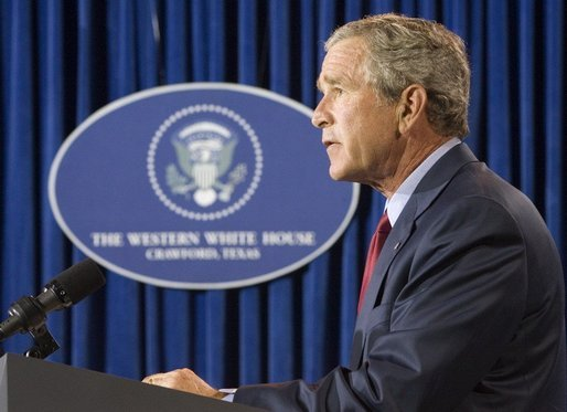 President George W. Bush gives remarks on Hurricane Katrina and the Iraqi constitution from his Crawford, Texas ranch on Sunday August 28, 2005. White House photo by Paul Morse