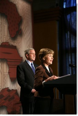 Mrs. Laura Bush addresses guests as she prepares to introduce President George W. Bush Thursday, Feb. 14, 2008 at the Smithsonian National Museum of African Art in Washington, D.C., prior to an address about their upcoming trip to Africa. Mrs. Bush outlined the many United States initiatives in cooperation with Africa nations that help improve education, reduce poverty and fight pandemic diseases.  White House photo by Chris Greenberg