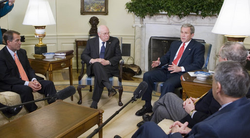 President George W. Bush and Vice President Dick Cheney meet with the Bicameral Republican leadership Friday, Feb. 15, 2008, in the Oval Office. White House photo by Joyce N. Boghosian