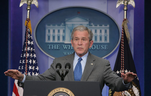 President George W. Bush gestures as he speaks to the press during a morning news conference Thursday, Feb. 28, 2008, in the James S. Brady Press Briefing Room. White House photo by Chris Greenberg