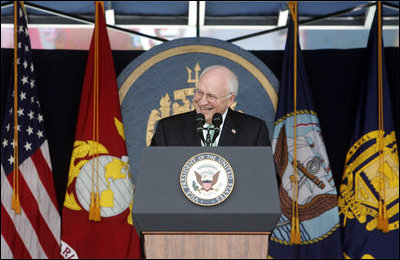 """Vice President Dick Cheney delivers the commencement address during the Graduation and Commissioning Ceremony for the U.S. Naval Academy Class of 2006, Friday, May 26, 2006 in Annapolis, Maryland. During his address to the Class of 2006, the first to enter the Academy following the attacks of 9/11, the Vice President said, """"We look at you and we see the best that is in our country. In your careers you will serve in a fleet like none other that has ever sailed before. You are part of a Navy and Marine Corps that uphold the noblest of traditions. You serve under a flag that stands for freedom, and human rights, and stability in a turbulent world."""""""