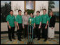 Mrs. Laura Bush welcomes the 2006 National Science Bowl Champions from State College, Pa., to the White House, Monday, May 1, 2006. From left to right are students Barry Liu, Jason Ma, Ylaine Gerardin, Galen Lynch, Francois Greet and their team coach Julie Gittings. The National Science Bowl, the nation's largest science competition, is co-sponsored by the U.S. Department of Energy. White House Photo by Kimberlee Hewitt White House photo by Kimberlee Hewitt