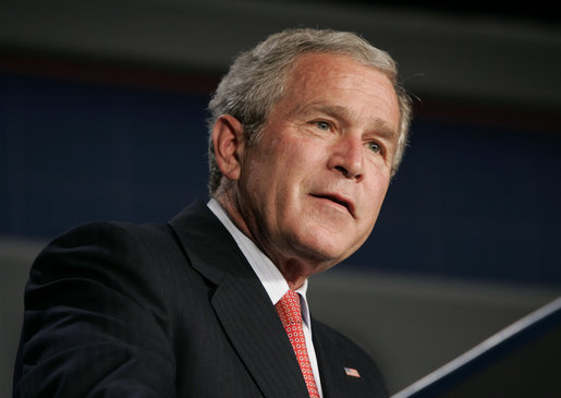 """President George W. Bush speaks on health care Monday, May 1, 2006, during an address at the Washington Hilton Hotel. The President told the audience, """"The best way to reform this health care system is to preserve the system of private medicine. to strengthen the relationship between doctors and patients, and make the benefits of private medicine more affordable and accessible for all our citizens."""" White House photo by Paul Morse"""