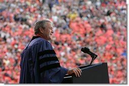 President George W. Bush delivers the commencement address to the class of 2006 of Oklahoma State University in Stillwater, OK on Saturday May 6, 2006.  White House photo by Paul Morse