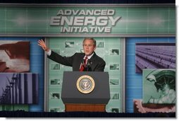 President George W. Bush gestures as he addresses an audience at the Limerick Generating Station in Limerick, Pa., Wednesday, May 24, 2006 , urging the the advancement of nuclear energy as part of a diversified U.S. energy policy that will make America less dependent on foreign sources of oil and more dependent on renewable sources of energy.  White House photo by Kimberlee Hewitt