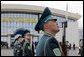 A Kazakh Honor Guard stands at attention during Vice President Dick Cheney's arrival to Astana, Kazakhstan, Friday, May 5, 2006. The Vice President's visit to Kazakhstan is the second stop of a six-day, three-country trip to Eastern Europe and Central Asia. White House photo by David Bohrer