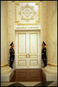 Soldiers stand at attention inside the Presidential Palace in Astana, Kazakhstan, the setting for a series of meetings held by Vice President Dick Cheney and Kazakh President Nursultan Nazarbayev, Friday, May 5, 2006. White House photo by David Bohrer